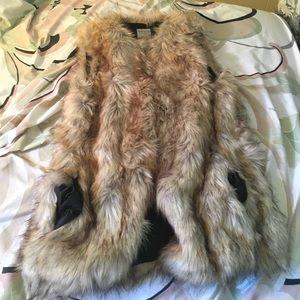 Zara Trafaluc faux fur vest, size small.